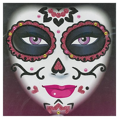 Day Of The Dead Glitter Face Tattoo Kit - Pink Sugar Skull