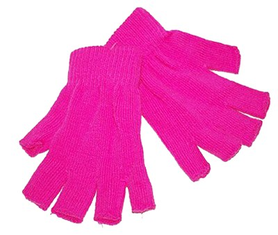 Fingerless Knit Hot Pink Gloves