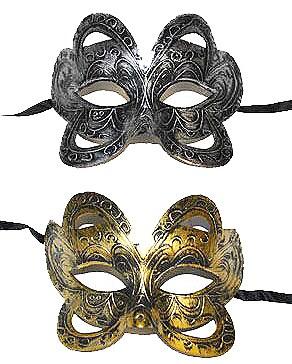 Etched Design Mardi Gras Mask