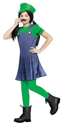 Super Mario Pretty Plumber Luigi Child Costume
