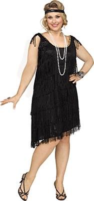 Shimmery Black Flapper Adult Plus Costume
