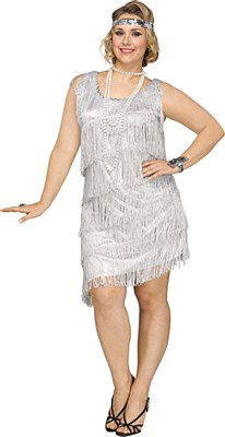 Shimmery Silver Flapper Adult Plus Costume