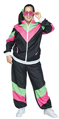 80's Women's Plus Track Suit Adult Costume