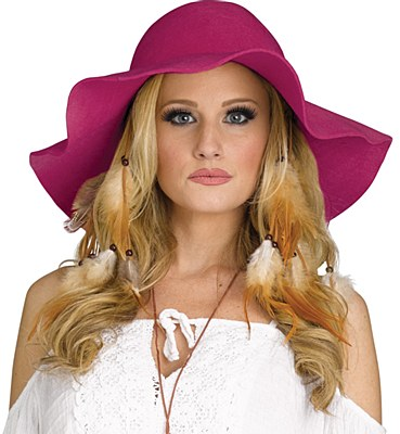60's Hippie Floppy Raspberry Hat