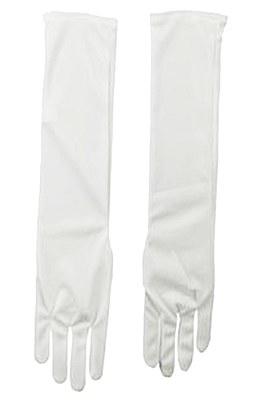 """Nylon 18"""" Adult White Gloves"""