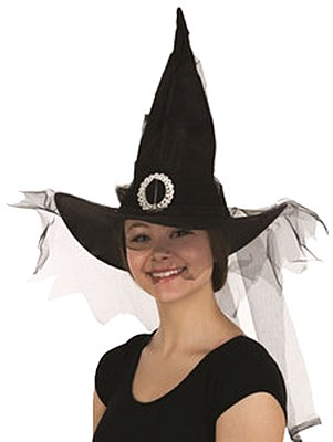 Buckle And Tulle Witch Hat - Black