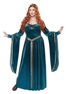 Lady Guinevere Teal Adult Plus Costume