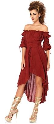 Gauze Peasant Adult Burgundy Dress