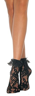 Anklet Lace Black Ruffle Socks