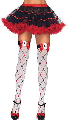 Diamond Suit Thigh High Stockings With Bow