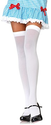 White Opaque Nylon Thigh High White Stockings