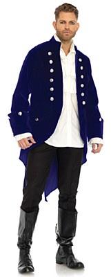 Long Velvet Wide Cuff Blue Adult Coat