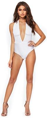 Shimmer Sequin Plunging Halter Snap Cotch White Bodysuit