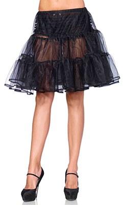 Shimmer Knee Length Black Petticoat