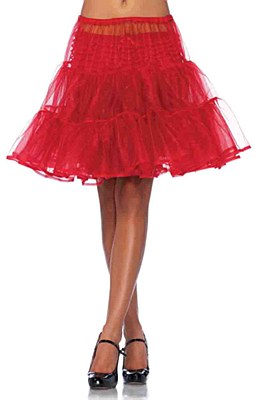 Shimmer Knee Length Red Petticoat