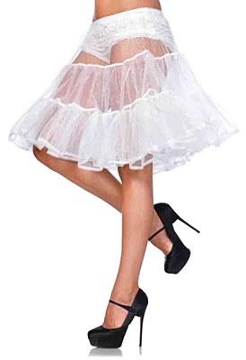 Shimmer Knee Length White Petticoat