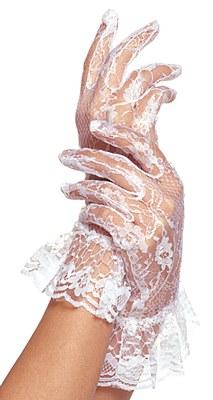 White Lace Wrist Length Ruffled Gloves