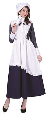 Colonial Lady Pinstriped Adult Costume