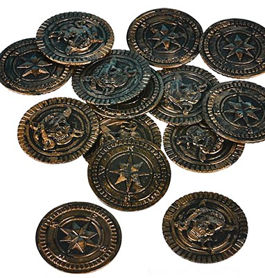 Brass Gold Pirate Coins