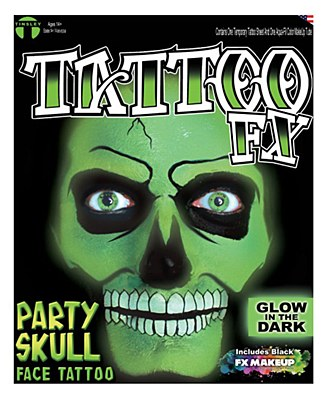 Glow-In -The-Dark Skull FX Face Tattoo Makeup