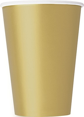Gold 12oz Paper Cups - 10 Count