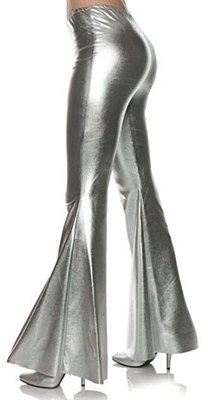 70's Disco Silver Metallic Bell Bottom Pants