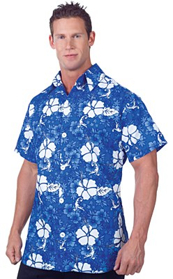 Hawaiian Blue Floral Adult Shirt