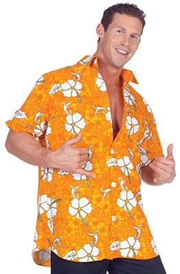 Hawaiian Orange Floral Adult Shirt