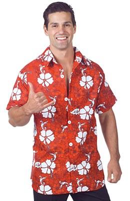 Hawaiian Red Floral Adult Shirt