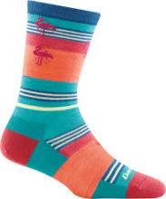 Darn Tough Women's South Beach Crew Lightweight Lifestyle Socks No Cushion Large (Women's 10-11.5) Aqua