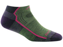 Darn Tough Women's Hiker No Show Lightweight Hiking Socks Cushion Large (Women's 10-11.5) Moss Heather