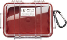 Pelican Products 1020 Micro Case Red w/transparent lid