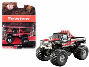 "1:64 Scale 1974 Ford F-250 Monster Truck ""Firestone"" Black & Red - GL51272"