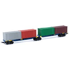 HO Scale 2 Container Wagons on Shared Bogie Pacific National - 2075PN