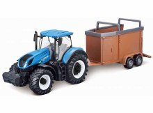 10cm New Holland Tractor T7.315 w/Livestock Forwarder - 31656