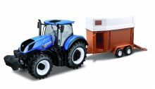 1:32 Scale New Holland Tractor + Horse Trailer - 44069
