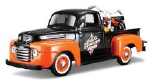 1:24 Scale 1948 Ford F1 Pickup + Harley Davidson Motorcycle - 32180