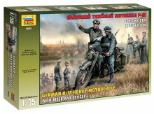 1:35 Scale German R12 Heavy Motorcycle With Rider & Officer - ZV3632