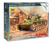 1:100 Scale German Flame Thrower Tank Pz.KPFW.III Snap Fit - ZV6162