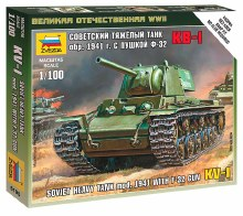 1:100 Scale Soviet Heavy Tank Mod.1941 With F-32 Gun KV-1 Snap Fit - ZV6190