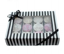 Black & White Stripe Cupcake Box with PVC Window (Holds 12)