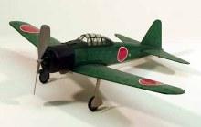 """A6M3 Zero 17.5"""" Wingspan Walnut Scale Rubber Powered Flying Model Kit"""