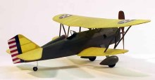 "Curtiss P-6E Hawk 17.5"" Wingspan Walnut Scale Rubber Powered Flying Model Kit - 219"