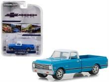 1:64 Scale 1972 Chevrolet C-10 Pickup Truck Blue w/White Top & Black Stripes - GL27970-C