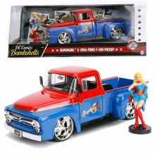 1:24 Scale 1956 Ford F100 Pickup Red & Blue w/Supergirl Figure - JA30454