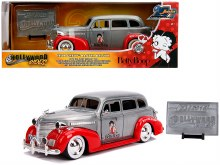 "1:24 Scale 1939 Chevrolet Master Deluxe Raw Metal and Red ""Betty Boop"" - JA31092"