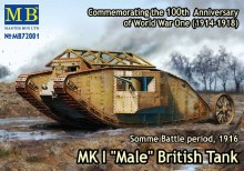 "1:72 Scale MKI ""Male"" British Tank, Somme Battle Period 1916 - 72001"