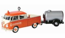 1:24 Scale Volkswagen Type 2 (T1) Pickup Truck Orange & Cream w/Oil Trailer - MX79674