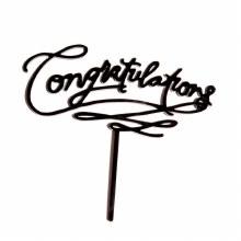 Black Cake Topper Congratulations