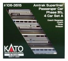 N Scale Amtrak Superliner Passenger Car Phase IVb 4 Car Set A - 1063515